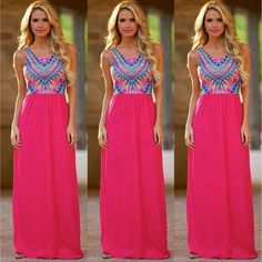 NEW Ladies Floral Maxi Boho Summer Long Skirt Evening Cocktail Party Dress 6-26