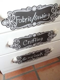 Use chalkboard decal/stickers to label cabinet in the craft room