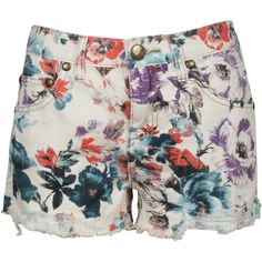 Free People Floral Shorts ❤ liked on Polyvore featuring shorts, bottoms, pants, short, floral printed shorts, white shorts, white floral shorts, short shorts and cut off short shorts