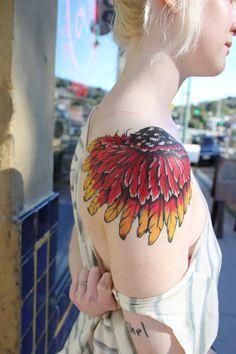 red-winged blackbird shoulder piece by aubrey at sugar city tattoo in crockett, CA - Imgur