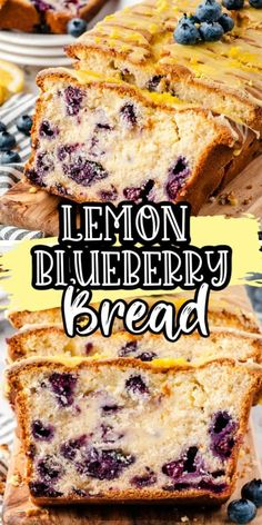 Our Lemon Blueberry Bread is the best quick bread recipe! Use fresh blueberries and lemon juice and zest for a tasty dessert, topped with a zesty lemon glaze it is so delicious! (Uses boxed cake mix -. Quick Bread Recipes, Chef Recipes, Cooking Recipes, Family Recipes, Easy Cooking, Dessert Simple, Easy Desserts, Dessert Recipes, Dinner Recipes