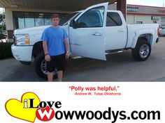 """Andrew Wyrrick from Tulsa, Oklahoma purchased this 2007 Chevrolet Silverado and wrote, """"Polly was helpful."""" To view similar vehicles and more, go to www.wowwoodys.com today!"""