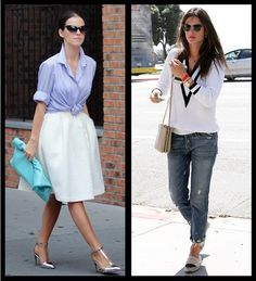 Left: Work wardrobe creates an hourglass figure with structured cuts. Right: Casual wardrobe is relaxed and less curve-conscious. Lisa Miller, Hourglass Figure, Work Wardrobe, Personal Style, Stylists, Comfy, Chic, Casual, Giveaway