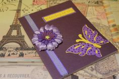 Thinking of you purple and yellow butterfly handmade greeting card by AnLieDesigns, $2.50