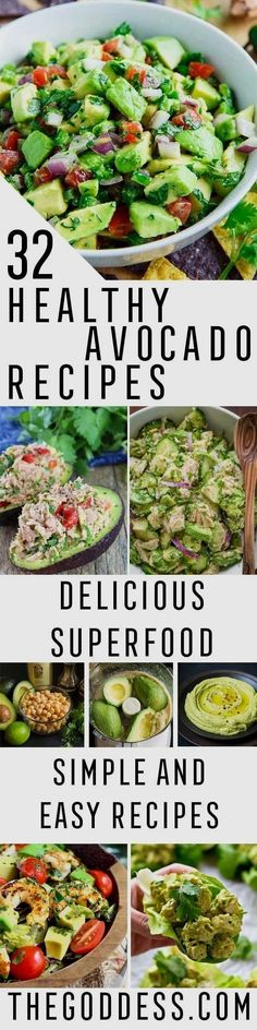 Healthy Avocado Recipes - Easy Clean Eating Recipes for Breakfast, Lunches, Dinner and even Desserts - Low Carb Vegetarian Snacks, Dip, Smothie Ideas and All Sorts of Diets - Get Your Fitness in Order with these awesome Paleo Detox Plans - thegoddess.com/ #healthyeating #healthyeatingrecipes