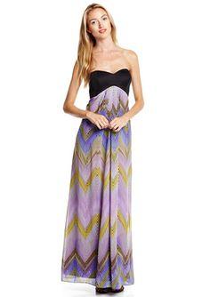 On ideeli: JESSICA SIMPSON Strapless Maxi Dress with Zig Zag Print Skirt