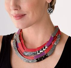 Quad Crescent Necklace by Louise Fischer Cozzi: Polymer Clay Necklace available…
