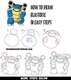 How to Draw Blastoise from Pokemon Easy Drawing Tutorial for Kids - How to Draw Step by Step Drawing Tutorials Flower Drawing Tutorials, Drawing Tutorials For Kids, Drawing Ideas, Drawing Designs, Flower Drawings, Drawing Tips, Pencil Drawings, Doodle Drawings, Easy Drawings