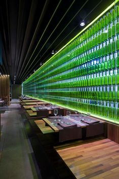 Spanish restaurant, El Merca'o by Vaillo + Irigaray, 10 green bottles ...