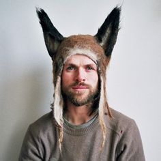 Barbara Keal hand makes felted hats and costumes inspired by animals both real and imaginary: Hairy Fox