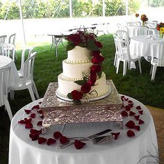 This is absolutely beautiful!!! Simple yet very elegant.   http://www.bhg.com/wedding/cakes/inspirational-wedding-cake-ideas/#page=5