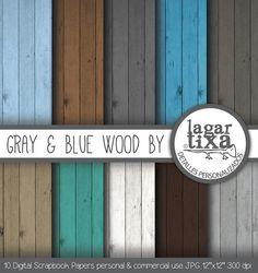 Fondo Madera Tonos Gris y Azul  by Lagartixa por LagartixaShop, $50.00 #wood #digitalpaper #woodbackground