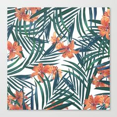Tropical Lilies Canvas Art Print by Tamsin Lucie. Botanical pattern of fern leaves and orange lilies. Floral nature scene.