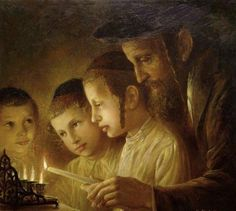 Elena Flerova -Channukah Lights - Jewish Art Oil Painting