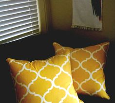 Toss Throw Accent Pillow Cover Yellow gold w by kustomdesigns2, $14.90