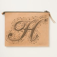 #custom #Cute Themed #gifts #hearttravelpouch #esoticadesigns -  Monogram H Leather Travel Pouch