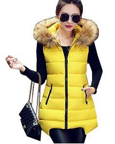 7a40bc586a7 Hzcx Fashion women s faux fur collar hooded long vest cotton thicker  waistcoat(US S(