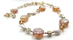 Golden Shimmer Lampwork Glass and Pearl Bead Necklace by nemeton