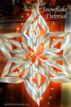 Large Paper Snowflake Tutorial Large Paper Snowflake Tutorial hang these gorgeous snowflakes all around your house at Christmas and let them glow! The post Large Paper Snowflake Tutorial appeared first on Paper Ideas. Noel Christmas, Christmas Ornaments, Winter Christmas, Christmas Lights, Snow Flakes Diy, Paper Crafts, Diy Crafts, Foam Crafts, Paper Toys