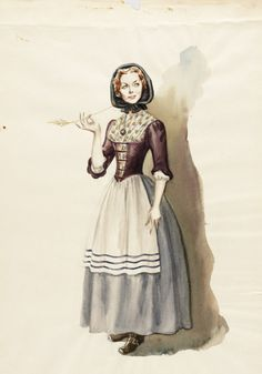 Costume Sketch of Claudette Colbert as Lana Martin in the 20th Century Fox Production, 'Drums Along the Mohawk' | LACMA Collections