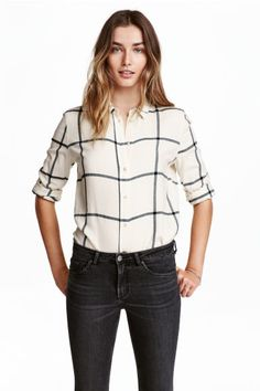 Camisa de franela - Blanco natural/Cuadros - MUJER | H&M ES 1