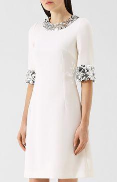 Приталенное шерстяное платье с пайетками | Фото №3 Simple Dresses, Elegant Dresses, Vintage Dresses, Nice Dresses, Short Dresses, Evening Dresses, Summer Dresses, Elegant Outfit, Classy Outfits