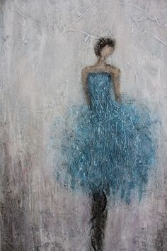 Figurative Painting   dancer woman textured   Anything 12 x 24  Swalla Studio. $129.00, via Etsy.