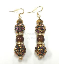 Brown and Gold Beaded Earrings Polymer Clay by RandRsWristCandy