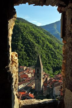 View of Pigna from an old house, Liguria