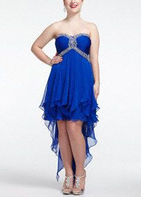 Fun and flirty, this vibrant and short prom dress is the life of the party. A truly unique hemline shows off your best dance moves. Bands of sparkling beads encircle the strapless bodice to frame your figure. Float through the evening with an on-trend, high-low hanky chiffon hemline. Available in Royal. Also available in missy sizes as Style XS4173. Fully-lined. Back zip. Imported polyester. Dry clean.A popular neckline for brides seeking a stylish and versatile look (offering unlimited…