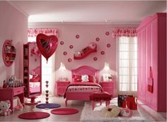 Hello Kitty Bedroom is one of the most popular interior theme for a girl's room. Hello Kitty bedroom requires simple and yet amazing decorative palette Pink Bedroom Design, Pink Bedroom For Girls, Girls Room Design, Pink Bedrooms, Girl Bedroom Designs, Pink Room, Little Girl Rooms, Room Girls, Kids Girls