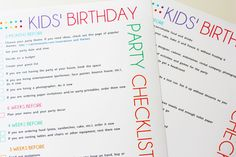 free kids birthday party planning checklist