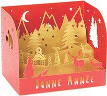 Cartes de vœux en découpe laser. Création sur mesure de cartes de voeux pop-up pour les entreprises.