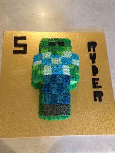 Minecraft zombie birthday cake I made for my sons 5th birthday