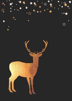 Kerst - Rendier goud, sterren, verkrijgbaar bij #kaartje2go voor €0,99