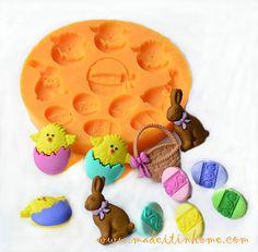 Silicone-Mould-EASTER-BASKET-Eggs-rabbit-etc-Sugarcraft-Cake-Fondant-fimo-mold , US $7.64