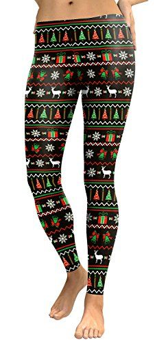 19ea67e5c82df Womens Green Red Gift Box Print Black Legging Pants for Ugly Christmas Party  ** You