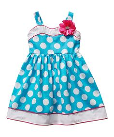 Look what I found on #zulily! Turquoise Polka Dot Flower Dress - Toddler & Girls by Sweet Heart Rose #zulilyfinds
