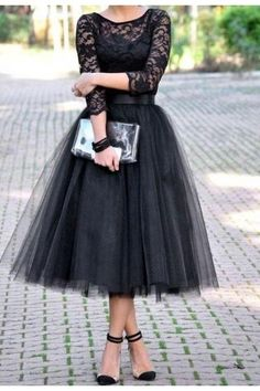 Prom Dress Formal Dress Long Sleeve Black Bateau Neck Ankle Length Tulle A Line Prom Evening Dress