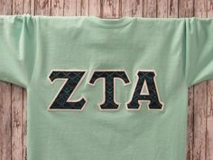 mint light green short sleeve sorority double stitched letters shirt