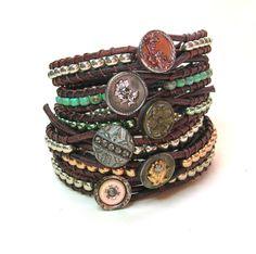 Boho leather wrap bracelet, Skinnies, Bohemian jewelry, gypsy chic, OOAK silver stack bracelet, antique Victorian button