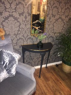 """Half Moon Table in Farrow and Ball """"Railings"""" with Gold detail"""