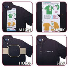 Embroider's Helper Placement Tool- for perfectly measuring polo/tshirt logo designs.  Also sells one for above pockets.