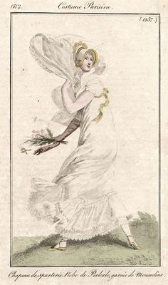 Out walking in the wind. Costume Parisien 1812.