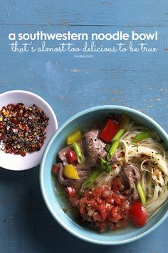 This delicious noodle bowl is a fantastic combination of pasta, peppers, and steak.