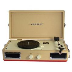 The Crosley CR40-RE Mini-Turntable comes complete with a 3-speed belt driven turntable that plays 33 1/3, 45 and 78 RPM records and dynamic full range stereo speakers. Description from best-turntable.com. I searched for this on bing.com/images