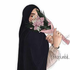 Makes a beautiful wall art piece. Hijabi Girl, Girl Hijab, Girly Drawings, Cartoon Drawings, Photo Hijab, Maquillage Harley Quinn, Hijab Drawing, Anime Muslim, Muslim Hijab