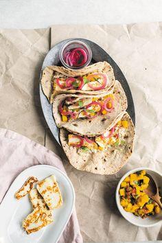 Haloumi Tacos with Mango Salsa and Rice Recipe - Viva