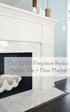 Learn how to add herringbone marble tile and build a DIY wooden mantel for your fireplace. Such a great update for $200.