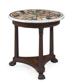 A REGENCY MAHOGANY AND SPECIMEN MARBLE CENTER TABLE -  CIRCA 1820, THE TOP ITALIAN AND APPARENTLY ORIGINAL TO THE BASE | Christie's